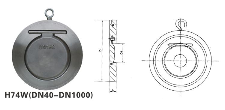 供应上海正钢h74w对夹圆片式止回阀图片